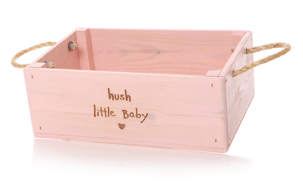 Hush Little Baby: Pink or Grey Wooden Storage Crate for Nursery - The Simply Small Company