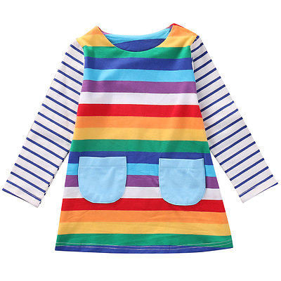 Little Girl's Rainbow Stripe Dress