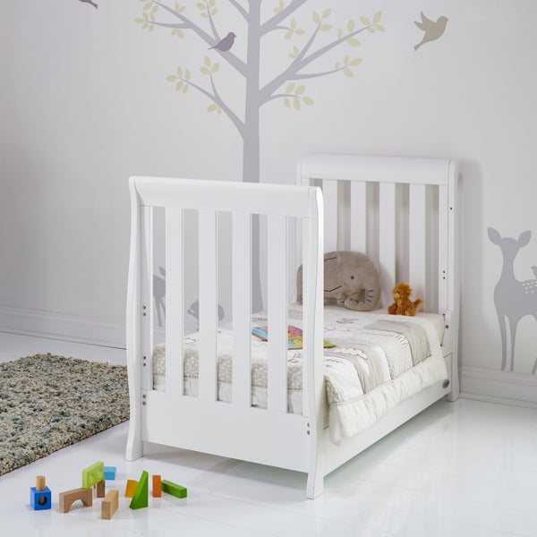 10% OFF RRP AND FREE DELIVERY Stamford Mini Sleigh Cotbed in White - The Simply Small Company