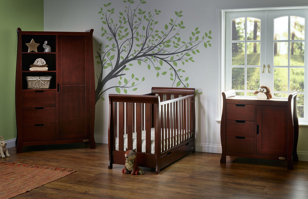 10% OFF RRP PLUS FREE DELIVERY Stamford Walnut Three Piece Nursery Room Set Featuring Mini Cot Bed - The Simply Small Company