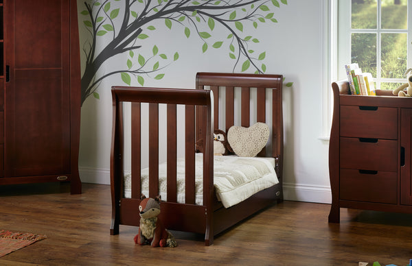 10% RRP AND FREE DELIVERY! Stamford Mini Sleigh Cotbed in Walnut - The Simply Small Company