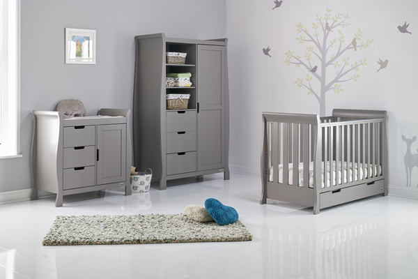 10% OFF RRP and FREE DELIVERY Stamford Grey Three Piece Nursery Room Set Featuring Mini Cot Bed