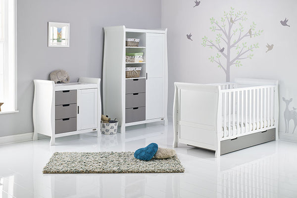 Stamford White & Grey Mix n Match Three Piece Nursery Room Set Featuring Sleigh Cotbed. With FREE Delivery - The Simply Small Company