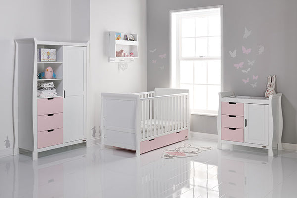 Stamford White & Eton Mess Pink Mix n Match Three Piece Nursery Room Set Featuring Sleigh Cotbed. With FREE Delivery - The Simply Small Company
