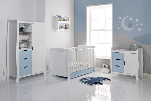Stamford White & Bon Bon Blue Mix n Match Three Piece Nursery Room Set Featuring Sleigh Cotbed. With FREE Delivery - The Simply Small Company