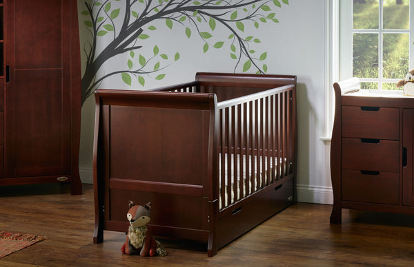Stamford Walnut Two Piece Nursery Cot Bed Room Set Featuring Sleigh Cotbed - The Simply Small Company