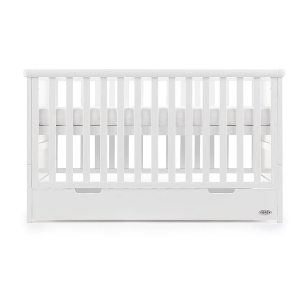 OBaby Belton Cotbed (White)WITH  FREE SPRUNG MATTRESS - The Simply Small Company