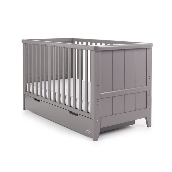OBaby Belton Cotbed (Grey) WITH FREE SPRUNG MATTRESS