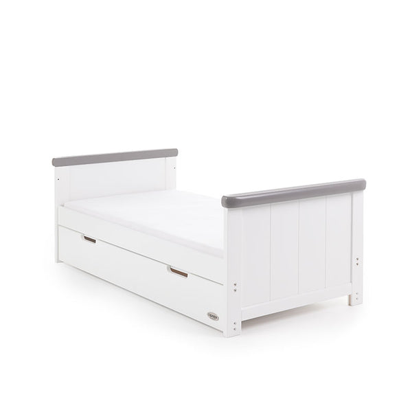 OBaby Belton Cotbed (White/Grey) WITH FREE SPRUNG MATTRESS - The Simply Small Company