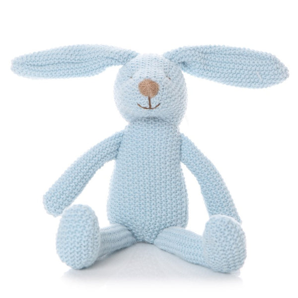 Knitted Sitting Bunny (Blue) - The Simply Small Company