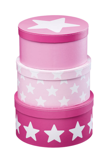 Set of 3 Round Storage Boxes: Pink Star - The Simply Small Company