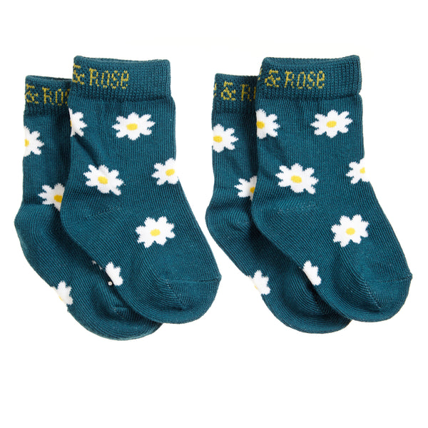 Blade & Rose Baby Girl's Daisy Print Teal Socks - The Simply Small Company