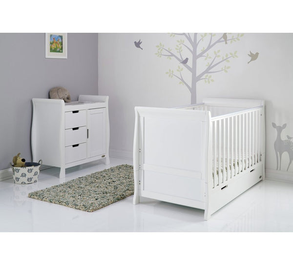 Stamford White Two Piece Nursery Cot Bed Room Set Featuring Sleigh Cotbed