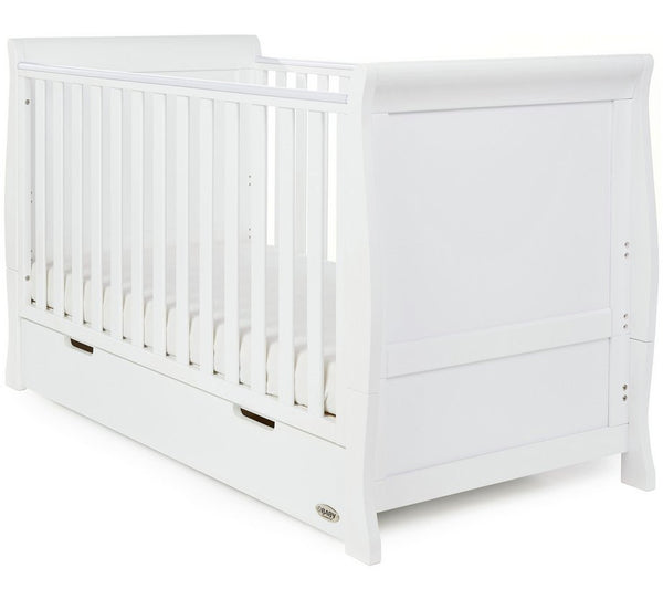 10% OFF RRP AND FREE DELIVERY Stamford White Sleigh Cotbed With Under Cot Draw - The Simply Small Company