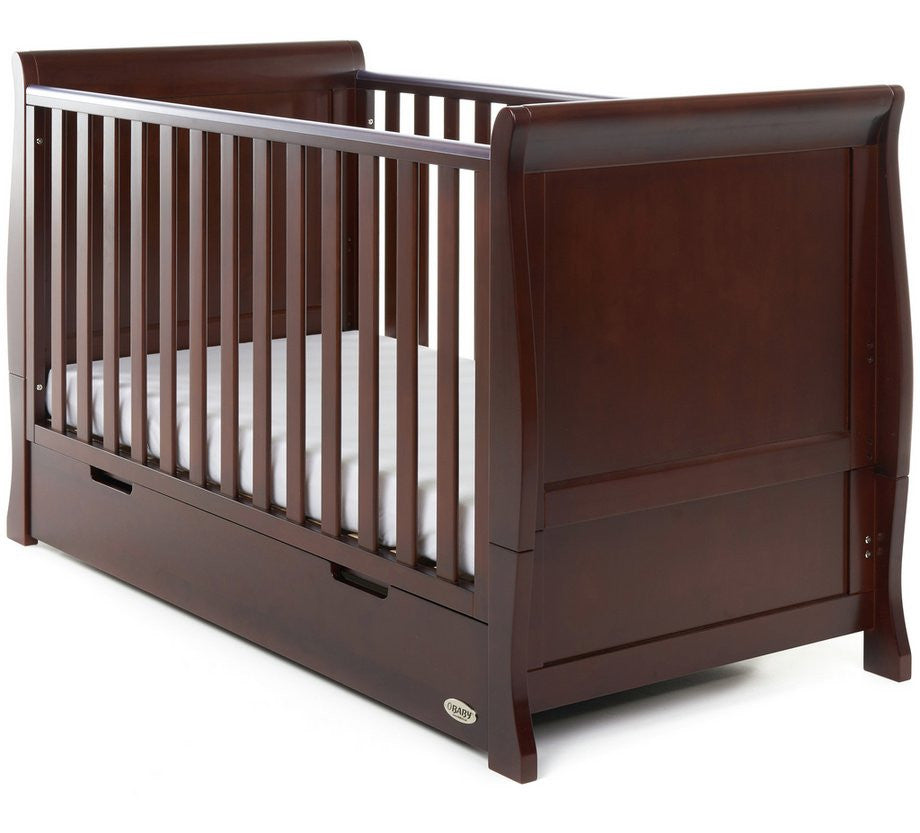 10% OFF AND FREE DELIVERY Stamford Walnut Sleigh Cotbed With Under Cot Draw - The Simply Small Company