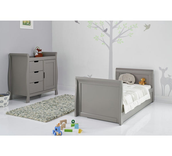 10% OFF RRP PLUS FREE DELIVERY Stamford Grey Sleigh Cotbed With Under Cot Draw - The Simply Small Company