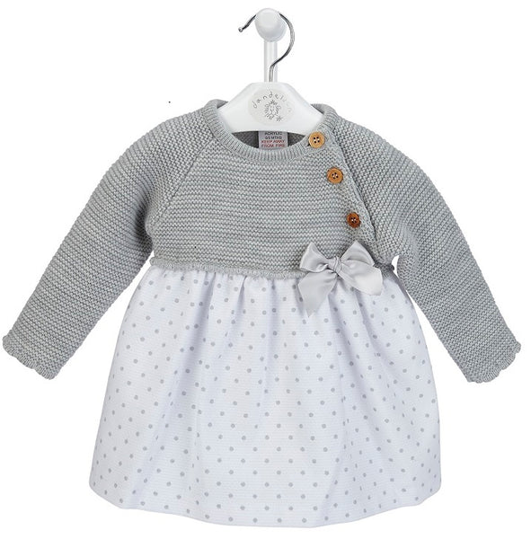 Baby Girl's Grey Dress with knitted top and cotton skirt
