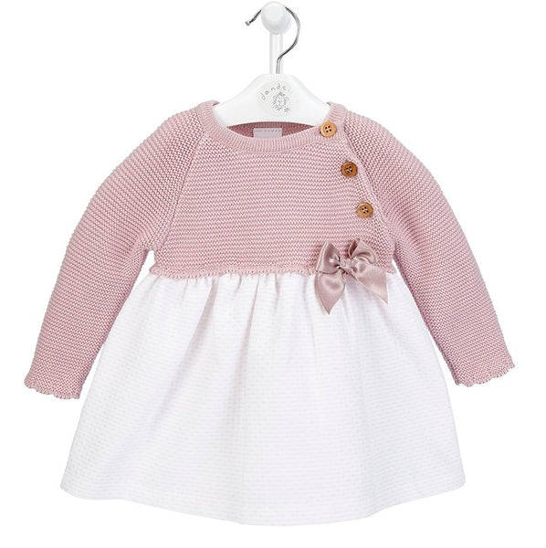 Baby Girl's Pink Dress with knitted top and cotton skirt
