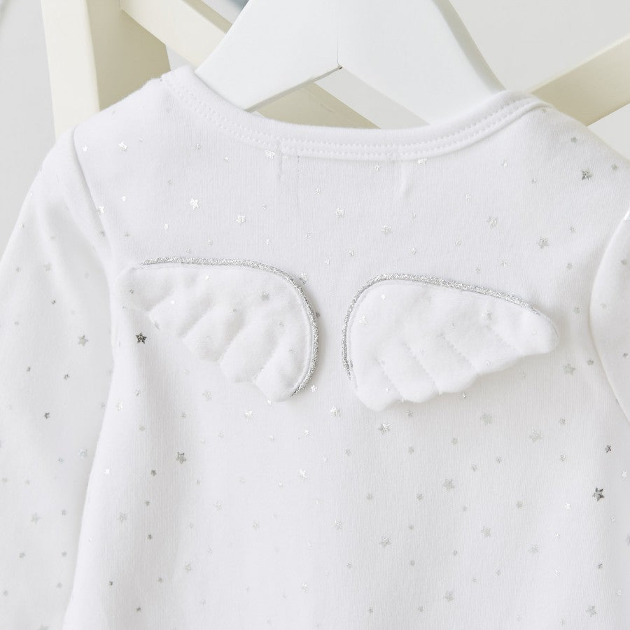 Silver Star Angel Wings Babygrow