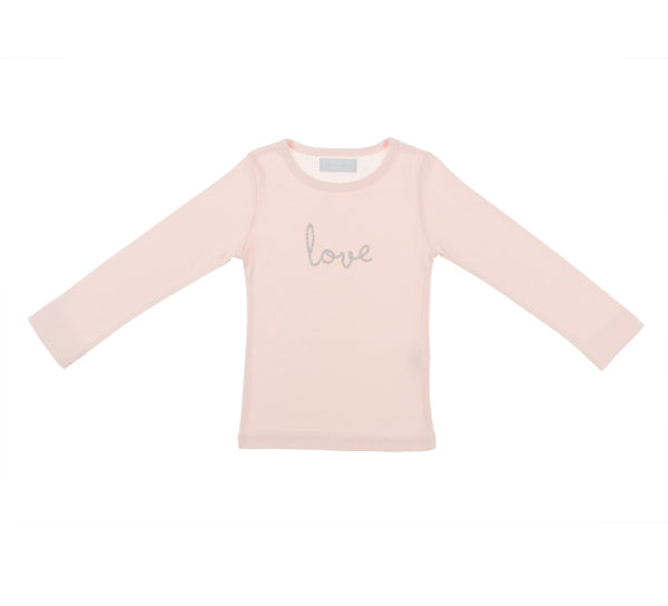 Girl's Pink Long Sleeved Skinny Fit top with Glitter 'Love'