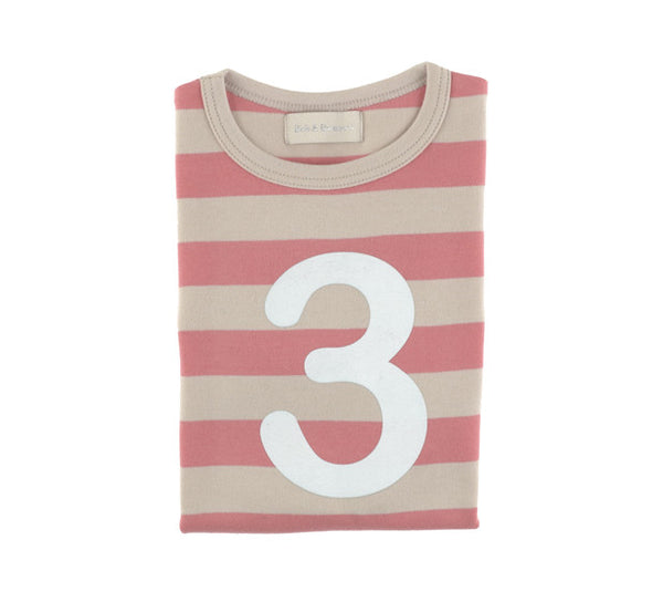 Bob & Blossom Age 3 T-shirt Posy Pink & Sand Stripe - The Simply Small Company