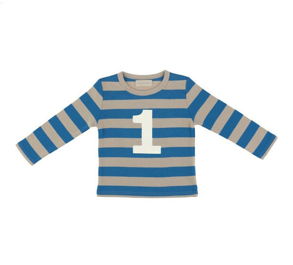 Bob & Blossom Age 1 T-Shirt Sailor Blue & Sand Stripe - The Simply Small Company