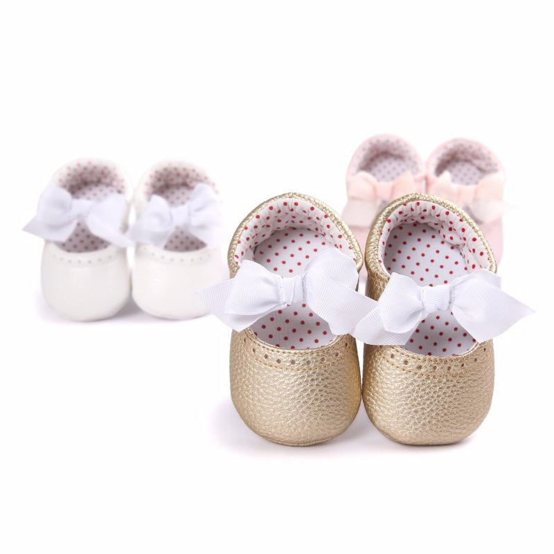 Baby Girl Mary Jane Bow Pre-Walker Pramshoes (Gold) - The Simply Small Company