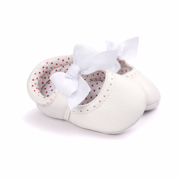 Baby Girl Mary Jane Bow Pre-Walker Pramshoes (White)
