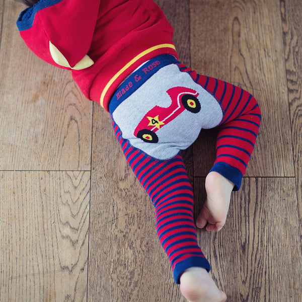 Blade & Rose Classic Car Navy/Red Striped Baby Boy Leggings