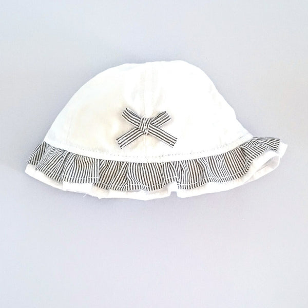 Baby Girl's Sun Hat (White with Navy Striped Bow Trim) - The Simply Small Company
