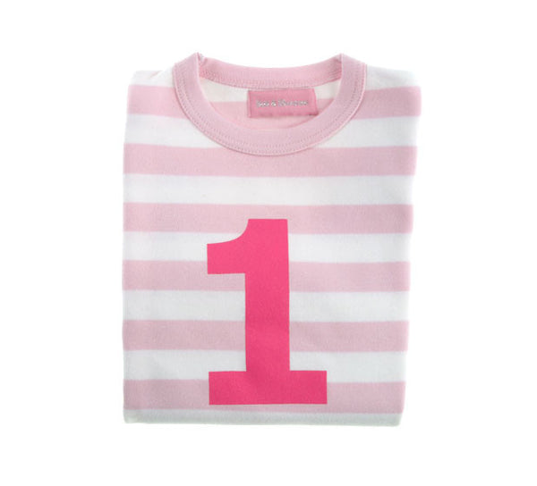 Bob & Blossom Pale Pink & White Striped Number 1 Age T-shirt - The Simply Small Company