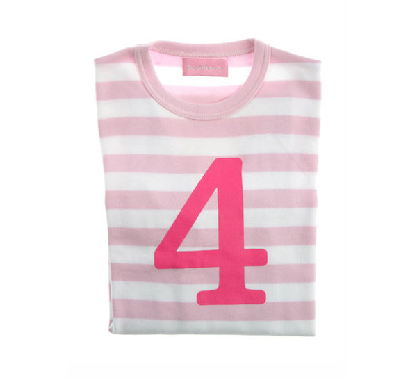 Bob & Blossom Pale Pink & White Striped Number 4 Age T-shirt - The Simply Small Company