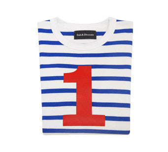 Bob & Blossom Age 1 T-shirt Blue & White Breton Stripe with a Red Number 1