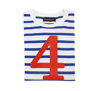 Bob & Blossom Age 4 T-shirt Blue & White Breton Stripe with a Red Number 4 - The Simply Small Company