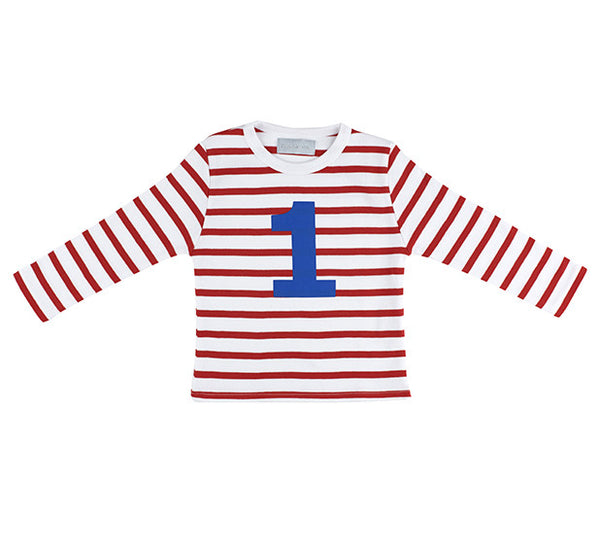 Bob & Blossom Age 1 T-Shirt Red & White Breton Stripe - The Simply Small Company