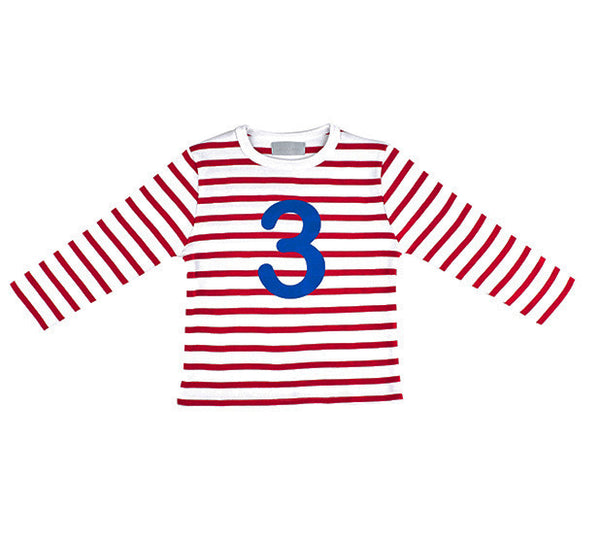 Red & White Breton Striped Number 3 Long Sleeve T-Shirt - The Simply Small Company