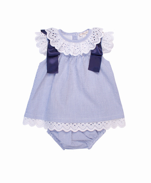 Baby Girl Seersucker Dress and Knickers by Mintini Baby - The Simply Small Company