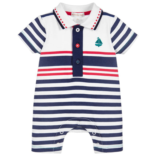 Baby Boy's Nautical Striped Romper by Mintini Baby
