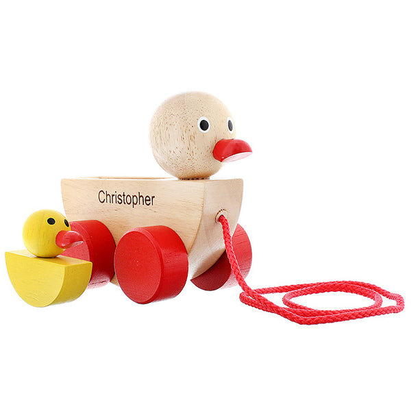 Personalised Wooden Duck & Duckling Pull Along Toy