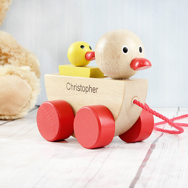 Personalised Wooden Duck & Duckling Pull Along Toy - The Simply Small Company