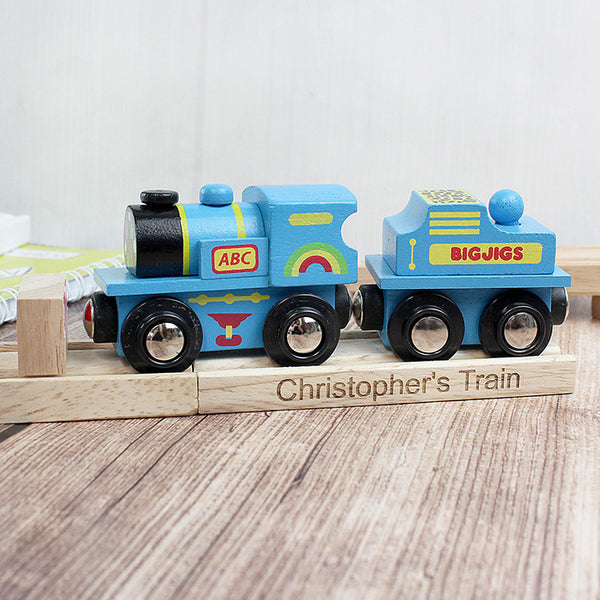 Personalised Wooden Toy Train (Blue) - The Simply Small Company