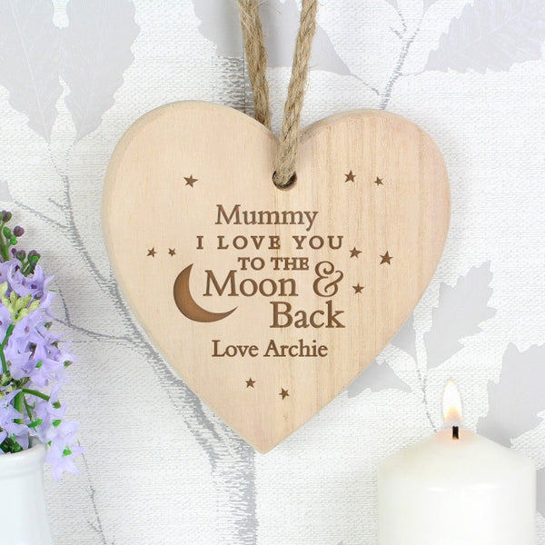 Personalised 'I Love you To The Moon & Back' Wooden Heart for Mother's Day - The Simply Small Company