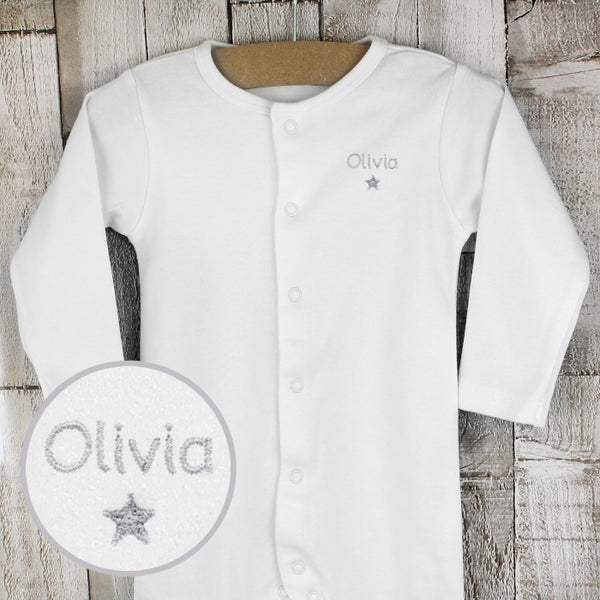 Personalised Silver Star Embroidered Sleepsuit (White Unisex Design) - The Simply Small Company