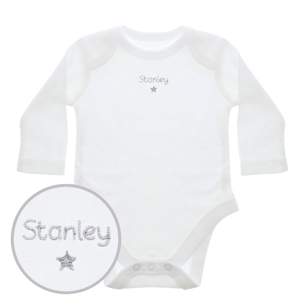 Personalised Silver Star Embroidered Long Sleeved Vest (White Unisex Design) - The Simply Small Company