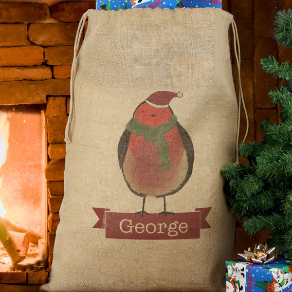 Personalised Hessian Christmas Present Sack with Christmas Robin - The Simply Small Company