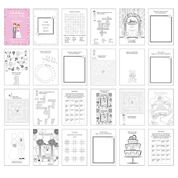Personalised Wedding Activity Book (Pink) - The Simply Small Company