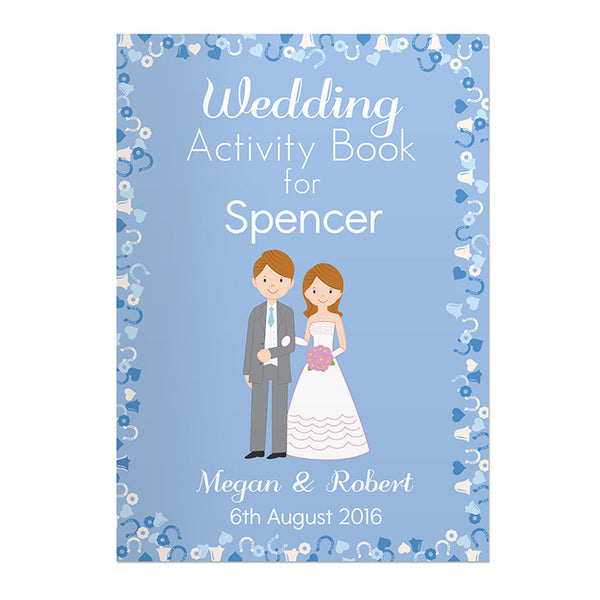 Personalised Wedding Activity Book (Blue) - The Simply Small Company