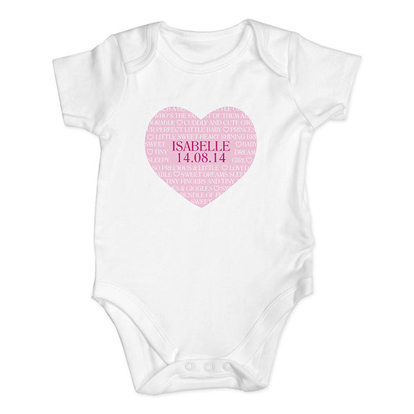 Personalised Baby Girl Vest (Heart Design) - The Simply Small Company