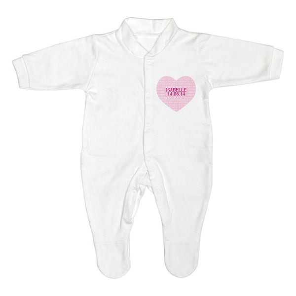 Personalised Baby Girl Sleepsuit (Heart Design) - The Simply Small Company