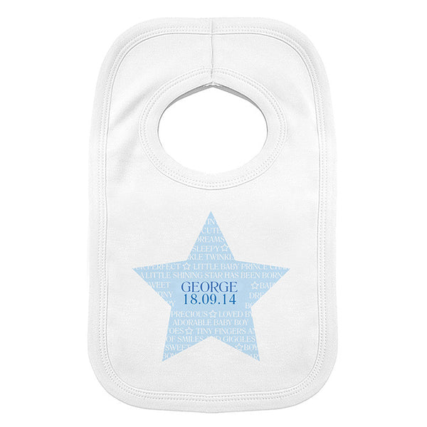 Personalised Baby Boy Bib (Star Design) - The Simply Small Company